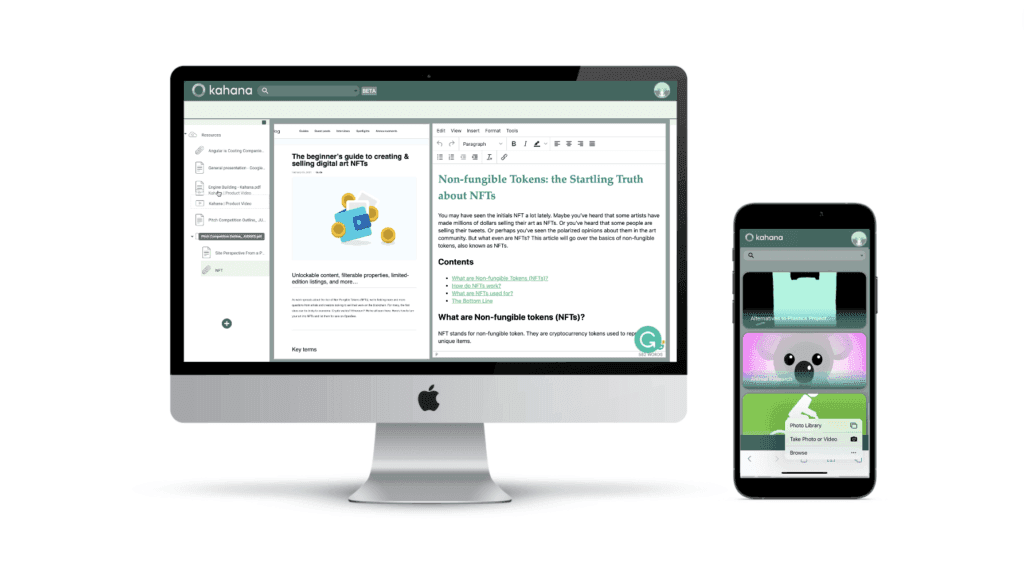 Kahana Mobile and Desktop Content Management tool for thought leadership